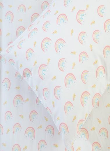Chakra Rainbow Lastikli Çarşaf Yastık Kılıfı Beyaz-Desenli - 80X140 Beyaz